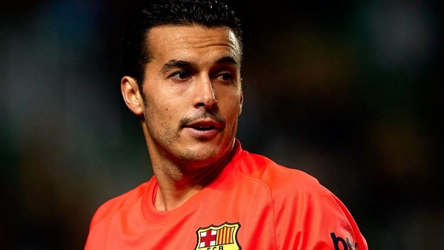 ELCHE, SPAIN - JANUARY 15: Pedro of Barcelona looks on during the Copa del Rey Round of 16 Second Leg match between Elche FC and FC Barcelona at Estadio Manuel Martinez Valero on January 15, 2015 in Elche, Spain. (Photo by Manuel Queimadelos Alonso/Getty Images)