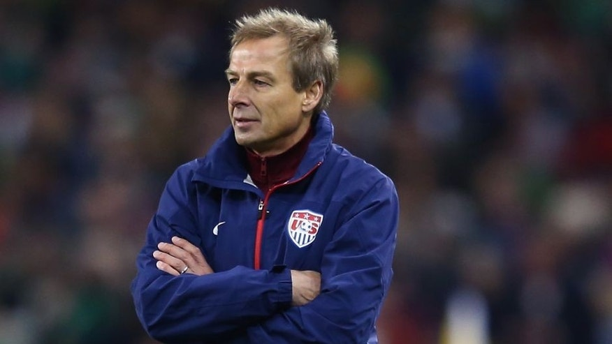 DUBLIN, IRELAND - NOVEMBER 18: Jurgen Klinsmann the head coach of USA looks on during the International Friendly match between the Republic of Ireland and USA at the Aviva Stadium on November 18, 2014 in Dublin, Ireland. (Photo by Michael Steele/Getty Images)