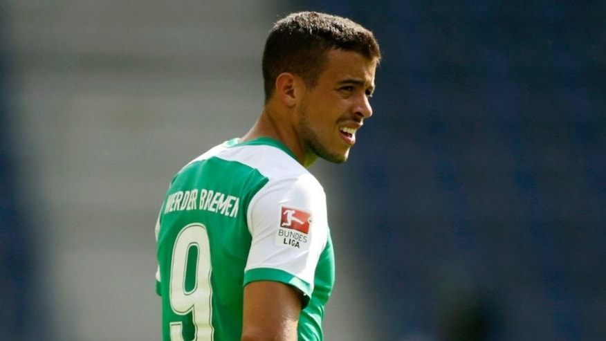 SALZBURG, AUSTRIA - JULY 11: Franco di Santo of Bremen in action during the pre-season semi final 1 match between FC Red Bull Salzburg and SV Werder Bremen as part of the Audi Quattro Cup 2015 at Red Bull Arena on July 11, 2015 in Salzburg, Austria. (Photo by Johannes Simon/Getty Images)