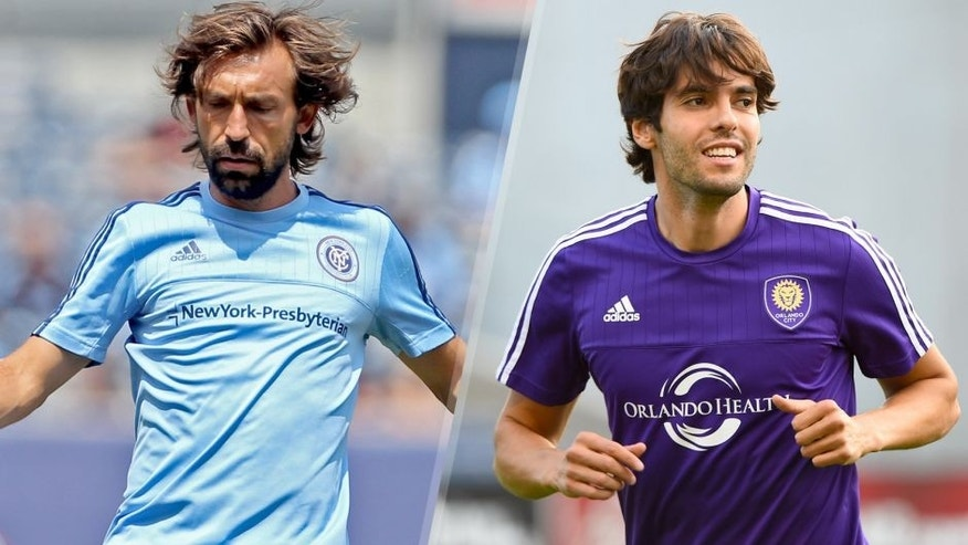 Jul 26, 2015; New York, NY, USA; New York City FC midfielder Andrea Pirlo (21) warms up prior to the match against Orlando City FC at Yankee Stadium. Mandatory Credit: Adam Hunger-USA TODAY Sports Jul 22, 2015; Bridgeview, IL, USA; Orlando City FC midfielder Kaka (10) smiles prior to the game against the Chicago Fire at Toyota Park. Mandatory Credit: Mike DiNovo-USA TODAY Sports