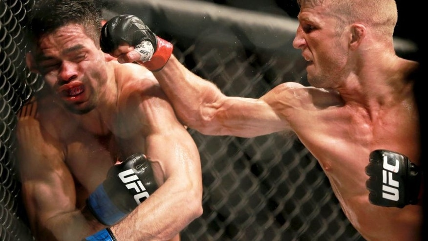 CHICAGO, IL - JULY 25: TJ Dillashaw punches Renan Barao in their UFC bantamweight championship bout during the UFC event at the United Center on July 25, 2015 in Chicago, Illinois. (Photo by \Rey Del Rio/Zuffa LLC/Zuffa LLC via Getty Images)
