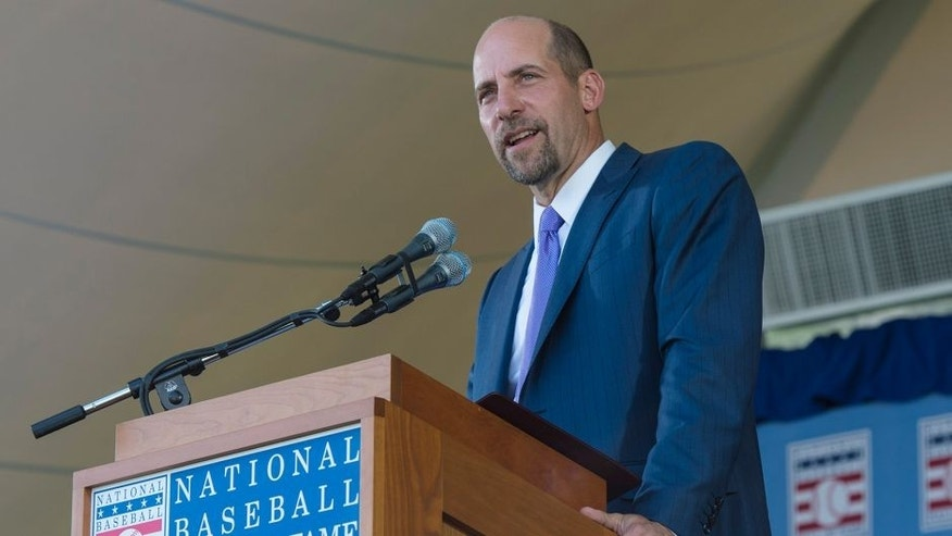 Jul 26, 2015; Cooperstown, NY, USA; Hall of Fame Inductee John Smoltz makes his acceptance speech during the Hall of Fame Induction Ceremonies at Clark Sports Center. Mandatory Credit: Gregory J. Fisher-USA TODAY Sports