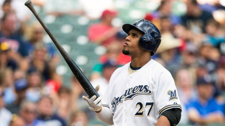 <p>Milwaukee Brewers' Carlos Gomez strikes out against Zach McAllister of the Cleveland Indians' during the sixth inning of a baseball game Wednesday, July 22, 2015, in Milwaukee. (AP Photo/Tom Lynn)</p>