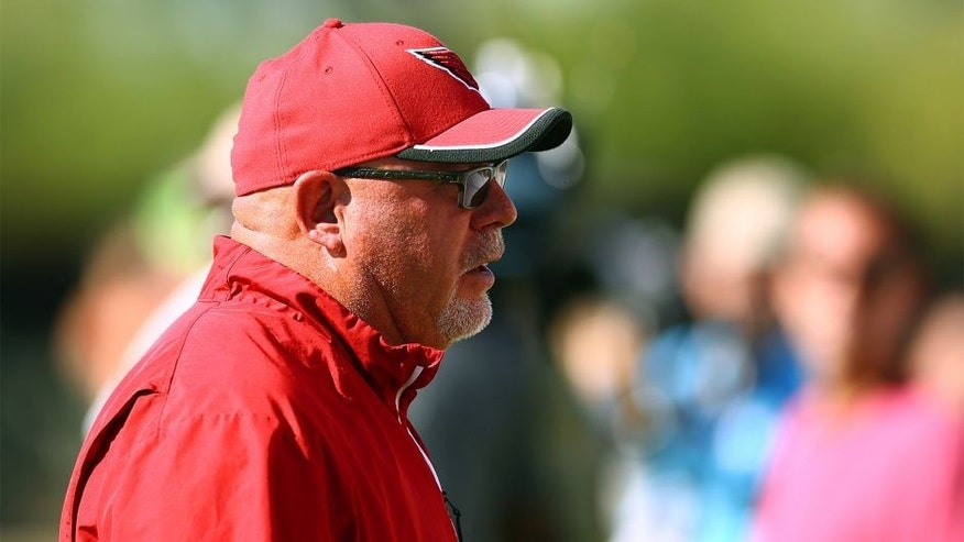 Jun 1, 2015; Tempe, AZ, USA; Arizona Cardinals head coach Bruce Arians during practice at organized training activities at the Cardinals Training Facility. Mandatory Credit: Mark J. Rebilas-USA TODAY Sports