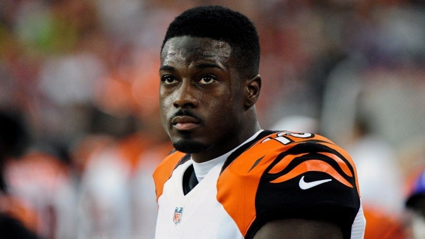 Aug 24, 2014; Glendale, AZ, USA; Cincinnati Bengals wide receiver A.J. Green (18) looks on during the first half against the Arizona Cardinals at University of Phoenix Stadium. Mandatory Credit: Matt Kartozian-USA TODAY Sports