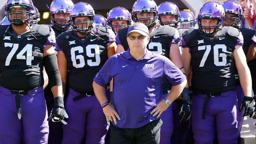 Oct 4, 2014; Fort Worth, TX, USA; TCU Horned Frogs head coach Gary Patterson waits to take the field with his team against the Oklahoma Sooners at Amon G. Carter Stadium. The Horned frogs beat the Sooners 37-33. Mandatory Credit: Matthew Emmons-USA TODAY Sports