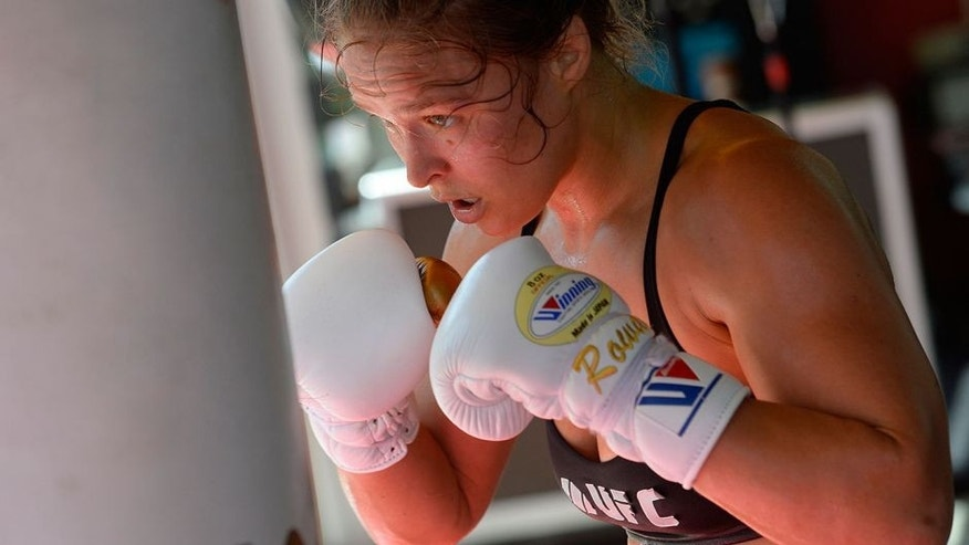 GLENDALE, CA - JULY 15: UFC Bantamweight champion Ronda Rousey works out during a media training session at the Glendale Fight Club on July 15, 2015 in Glendale, California. (Photo by Robert Laberge/Zuffa LLC/Zuffa LLC via Getty Images)