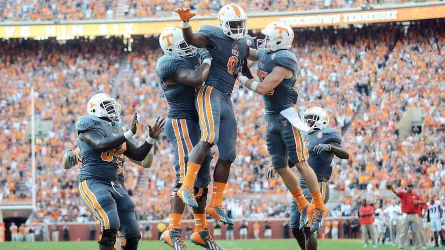 Oct 5, 2013; Knoxville, TN, USA; Tennessee Volunteers wide receiver Marquez North (8) celebrates a touchdown catch against the Georgia Bulldogs during the third quarter at Neyland Stadium. Mandatory Credit: Randy Sartin-USA TODAY Sports