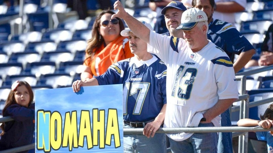Dec 14, 2014; San Diego, CA, USA; San Diego Chargers fans react as the Denver Broncos take the field for pre-game warmups at Qualcomm Stadium. Mandatory Credit: Robert Hanashiro-USA TODAY Sports