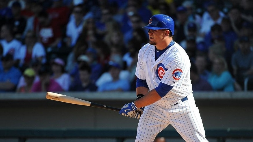 MESA, AZ - MARCH 6: Kyle Schwarber #74 of the Chicago Cubs bats during the game against the Cincinnati Reds on March 6, 2015 at Sloan Park in Mesa, Arizona. The Reds defeated the Cubs 5-2. (Photo by Rich Pilling/Getty Images)