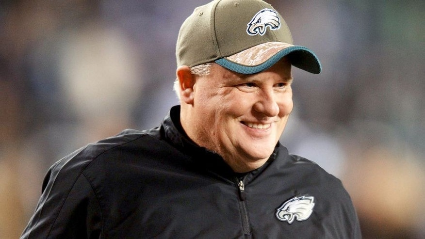 Dec 14, 2014; Philadelphia, PA, USA; Philadelphia Eagles head coach Chip Kelly before the start of the game against the Dallas Cowboys at Lincoln Financial Field. Mandatory Credit: Eric Hartline-USA TODAY Sports