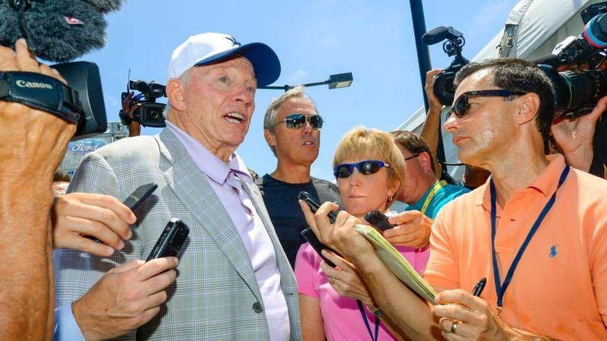 "Dallas Cowboys owner Jerry Jones fields questions from members of the media during the ""state of the team"" news conference at the start of NFL football training camp, Wednesday, July 29, 2015, in Oxnard, Calif. (AP Photo/Gus Ruelas)"
