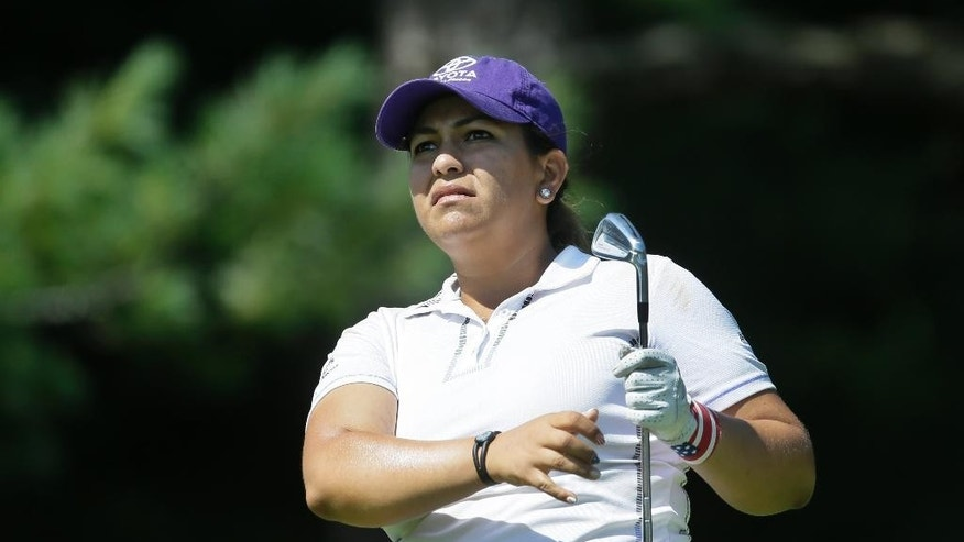 Lizette Salas watches her drive on the second hole during the second round of the Meijer LPGA Classic golf tournament at Blythefield Country Club, Friday, July 24, 2015, in Belmont, Mich. (AP Photo/Carlos Osorio)