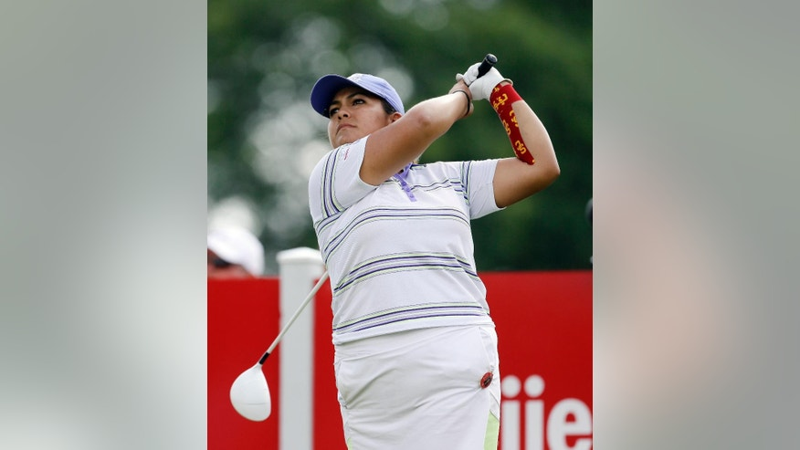 Lizette Salas drives on the 16th hole during the third round of the Meijer LPGA Classic golf tournament at Blythefield Country Club, Saturday, July 25, 2015 in Belmont, Mich. (AP Photo/Carlos Osorio)