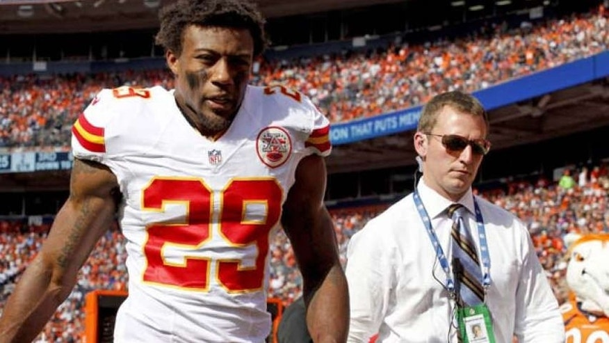 Sept. 14, 2014:  Kansas City Chiefs strong safety Eric Berry (29) walks off the field during the second half of an NFL football game against the Denver Broncos in Denver.