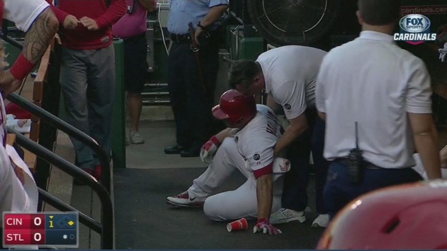 <p>Matt Holliday after taking himself out of game while running to first base.<br> </p>