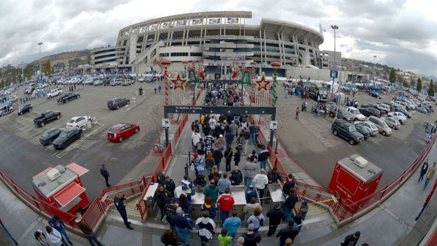 Dec 30, 2012; San Diego, CA, USA; General view of fans arriving to Qualcomm Stadium for the NFL game between the Oakland Raiders and the San Diego Chargers. Mandatory Credit: Kirby Lee/Image of Sport-USA TODAY Sports
