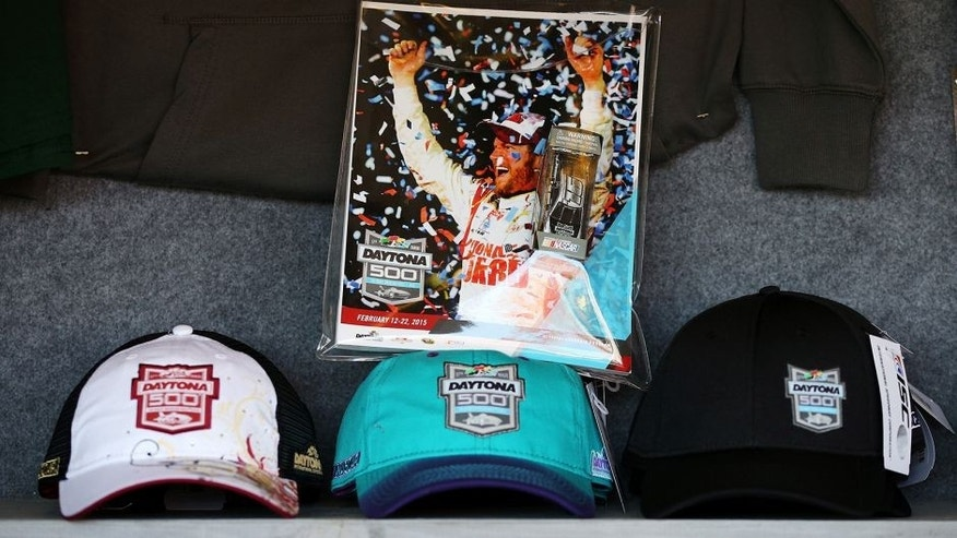 DAYTONA BEACH, FL - FEBRUARY 22: A view of Daytona 500 memorabilia on sale during the NASCAR Sprint Cup Series 57th Annual Daytona 500 at Daytona International Speedway on February 22, 2015 in Daytona Beach, Florida. (Photo by Patrick Smith/Getty Images)