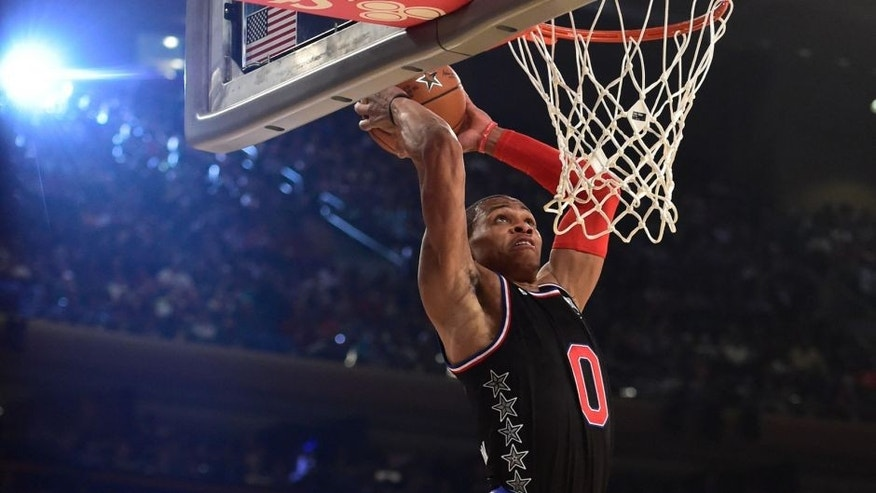 February 15, 2015; New York, NY, USA; Western Conference guard Russell Westbrook of the Oklahoma City Thunder (0) dunks during the second quarter of the 2015 NBA All-Star Game against the Eastern Conference at Madison Square Garden. Mandatory Credit: Bob Donnan-USA TODAY Sports