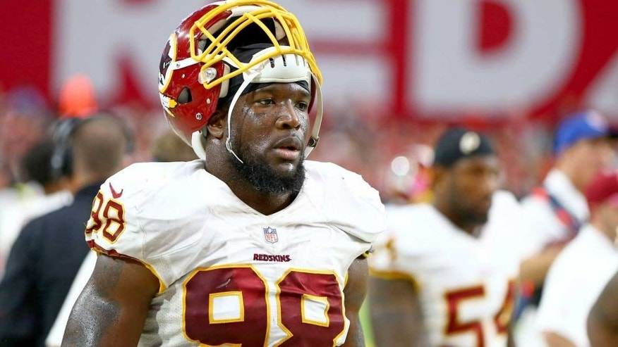 Oct 12, 2014; Glendale, AZ, USA; Washington Redskins linebacker Brian Orakpo (98) against the Arizona Cardinals at University of Phoenix Stadium. The Cardinals defeated the Redskins 30-20. Mandatory Credit: Mark J. Rebilas-USA TODAY Sports