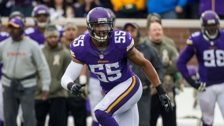 Nov 23, 2014; Minneapolis, MN, USA; Minnesota Vikings linebacker Anthony Barr (55) runs during the third quarter against the Green Bay Packers at TCF Bank Stadium. The Packers defeated the Vikings 24-21. Mandatory Credit: Brace Hemmelgarn-USA TODAY Sports