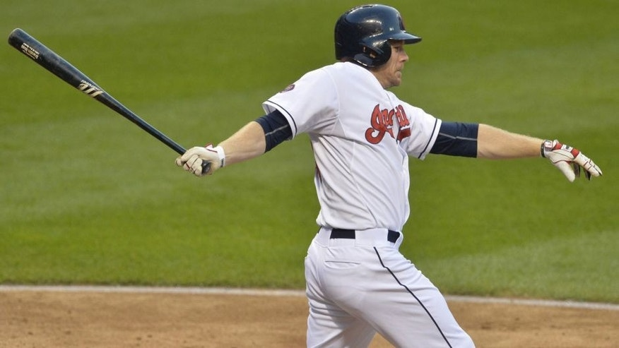 <p>Jul 6, 2015; Cleveland, OH, USA; Cleveland Indians right fielder Brandon Moss (44) hits an RBI triple in the fourth inning against the Houston Astros at Progressive Field. Mandatory Credit: <br> </p>