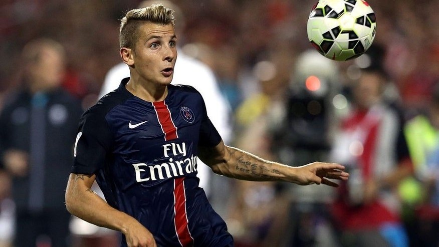 TORONTO, ON - JULY 18: Lucas Digne #21 of Paris Saint-Germain in action during the 2015 International Champions Cup match against Benfica at BMO Field on July 18, 2015 in Toronto, Ontario, Canada. (Photo by Vaughn Ridley/Getty Images)
