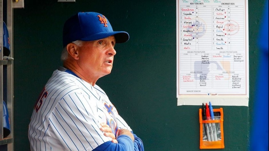 NEW YORK, NY - JUNE 28: Manager Terry Collins #10 of the New York Mets looks on against the Cincinnati Reds at Citi Field on June 28, 2015 in the Flushing neighborhood of the Queens borough of New York City. The Mets defeated the Red 7-2. (Photo by Jim McIsaac/Getty Images)