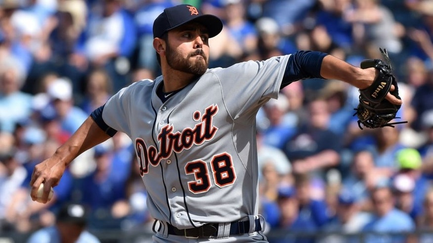 May 3, 2015; Kansas City, MO, USA; Detroit Tigers pitcher Joakim Soria (38) delivers a pitch against the Kansas City Royals during the ninth inning at Kauffman Stadium. Mandatory Credit: Peter G. Aiken-USA TODAY Sports