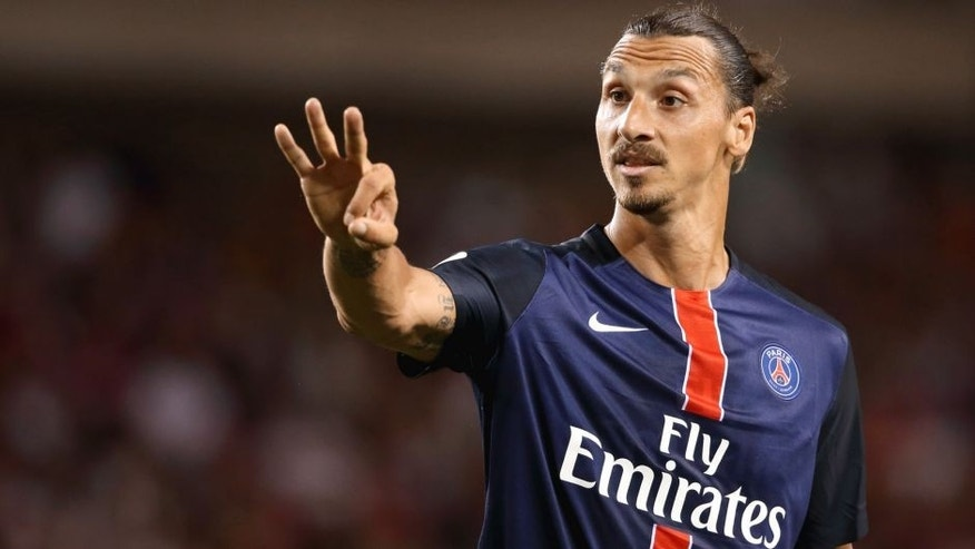 CHICAGO, UNITED STATES - JULY 29: Zlatan Ibrahimovic of Paris Saint-Germain during the International Champions Cup match between Manchester United and Paris Saint-Germain at Soldier Field on July 29, 2015 in Chicago, Illinois. (Photo by Matthew Ashton - AMA/Getty Images)