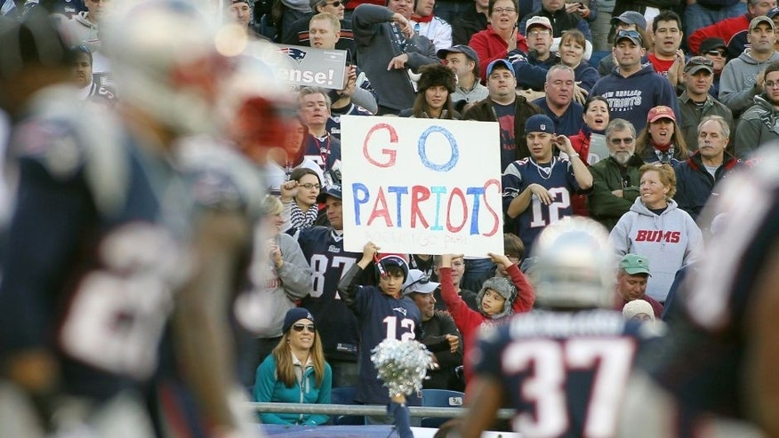 Nov 11, 2012; Foxborough, MA, USA; Fans cheer on the New England Patriots during the fourth quarter against the Buffalo Bills at Gillette Stadium. The Patriots defeated the Bills 37-31. Mandatory Credit: Stew Milne-USA TODAY Sports