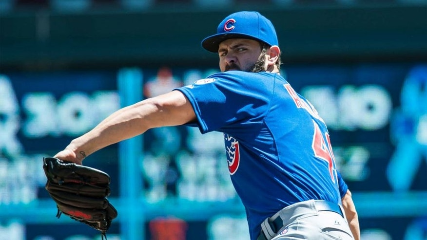 Jun 21, 2015; Minneapolis, MN, USA; Chicago Cubs starting pitcher Jake Arrieta throws a pitch during the first inning against the Minnesota Twins at Target Field.