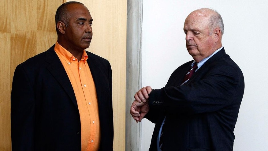 Jul 26, 2011; Cincinnati, OH, USA; Cincinnati Bengals head coach Marvin Lewis (left) and owner Mike Brown (right) talk before their press conference at Paul Brown Stadium. Mandatory Credit: Frank Victores-USA TODAY Sports
