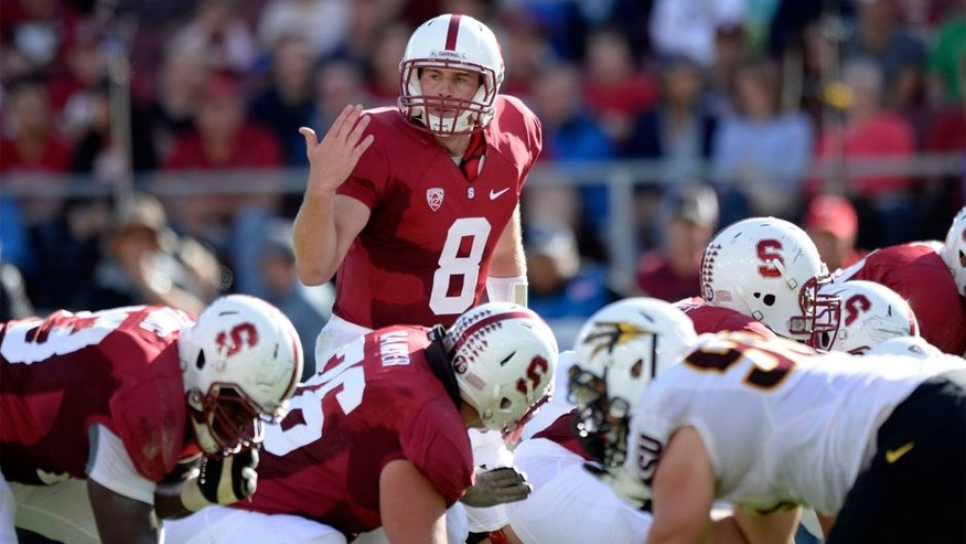 Sep 21, 2013; Stanford, CA, USA; Stanford Cardinal quarterback Kevin Hogan (8) changes a play at the line during the first quarter against the Arizona State Sun Devils at Stanford Stadium. Mandatory Credit: Bob Stanton-USA TODAY Sports