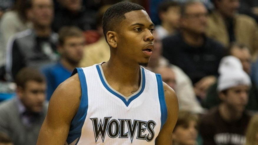 <p>Jan 5, 2015; Minneapolis, MN, USA; Minnesota Timberwolves guard Glenn Robinson III (1) against the Denver Nuggets at Target Center. The Nuggets defeated the Timberwolves 110-101. Mandatory Credit: Brace Hemmelgarn-USA TODAY Sports</p>
