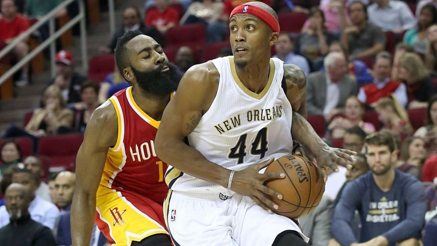 <p>Dec 18, 2014; Houston, TX, USA; New Orleans Pelicans forward Dante Cunningham (44) is guarded by Houston Rockets guard James Harden (13) in the second half at Toyota Center. New Orleans Pelicans won 99 to 90. Mandatory Credit: Thomas B. Shea-USA TODAY Sports</p>