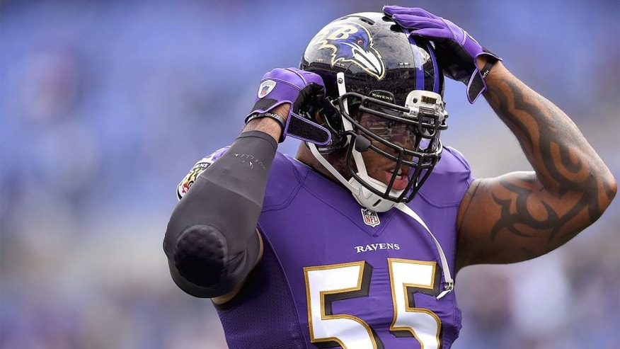 BALTIMORE, MD - NOVEMBER 30: Outside linebacker Terrell Suggs #55 of the Baltimore Ravens warms up before playing the San Diego Chargers at M&T Bank Stadium on November 30, 2014 in Baltimore, Maryland. (Photo by Patrick Smith/Getty Images)