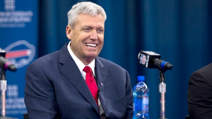 ORCHARD PARK, NY - JANUARY 14: Rex Ryan attends a press conference announcing his arrival as head coach of the Buffalo Bills on January 14, 2015 at Ralph Wilson Stadium in Orchard Park, New York. (Photo by Brett Carlsen/Getty Images)