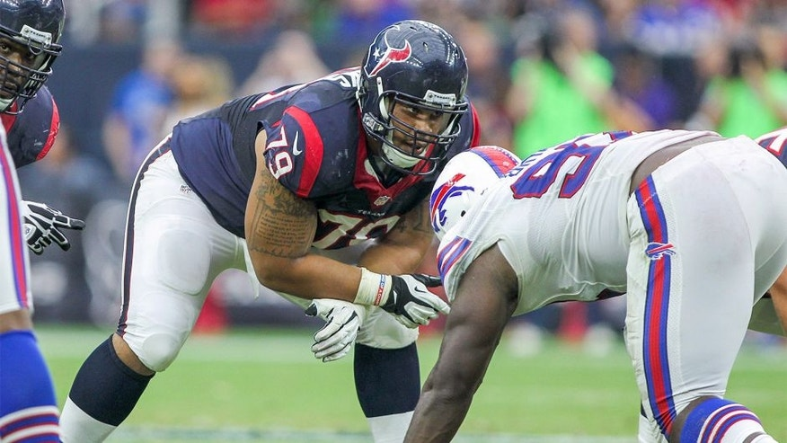 Sep 28, 2014; Houston, TX, USA; Houston Texans guard Brandon Brooks (79) during a game against the Buffalo Bills at NRG Stadium. Mandatory Credit: Troy Taormina-USA TODAY Sports