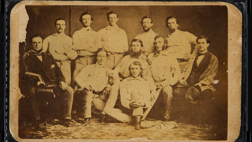 June 30, 2015: Photo provided by Heritage Auctions shows the front of a circa 1860 Brooklyn Atlantics baseball card.