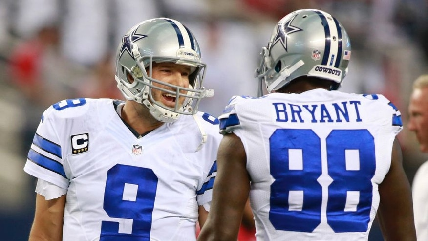 <p>Sep 7, 2014; Arlington, TX, USA; Dallas Cowboys quarterback Tony Romo (9) talks with wide receiver Dez Bryant (88) before the game against the San Francisco 49ers at AT&T Stadium. Mandatory Credit: Tim Heitman-USA TODAY Sports</p>
