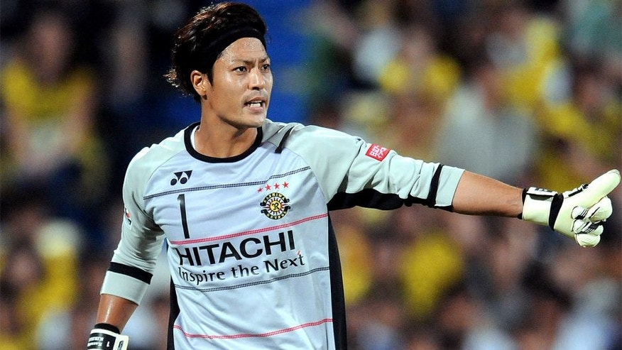 KASHIWA, JAPAN - JULY 11: (EDITORIAL USE ONLY) Kazushige Kirihata of Kashiwa Reysol looks on during the J.League match between Kashiwa Reysol and Sagan Tosu at Hitachi Kashiwa Soccer Stadium on July 11, 2015 in Kashiwa, Chiba, Japan. (Photo by Hiroki Watanabe/Getty Images)
