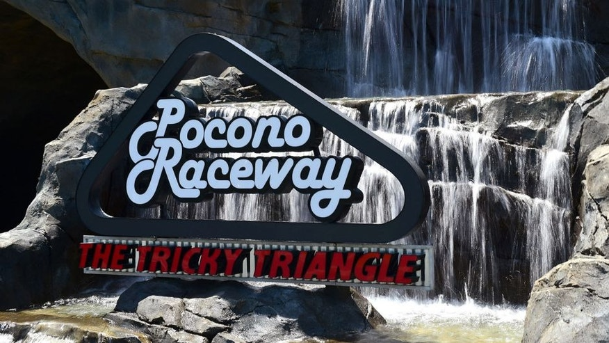 LONG POND, PA - JUNE 07: A general view of the recently installed water feature at the entrance to Pocono Raceway on June 7, 2015 in Long Pond, Pennsylvania. (Photo by Jared C. Tilton/Getty Images)