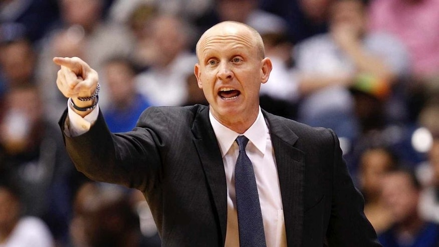 <p>Mar 1, 2014; Cincinnati, OH, USA; Xavier Musketeers head coach Chris Mack reacts during the first half against the Creighton Bluejays at the Cintas Center. </p>