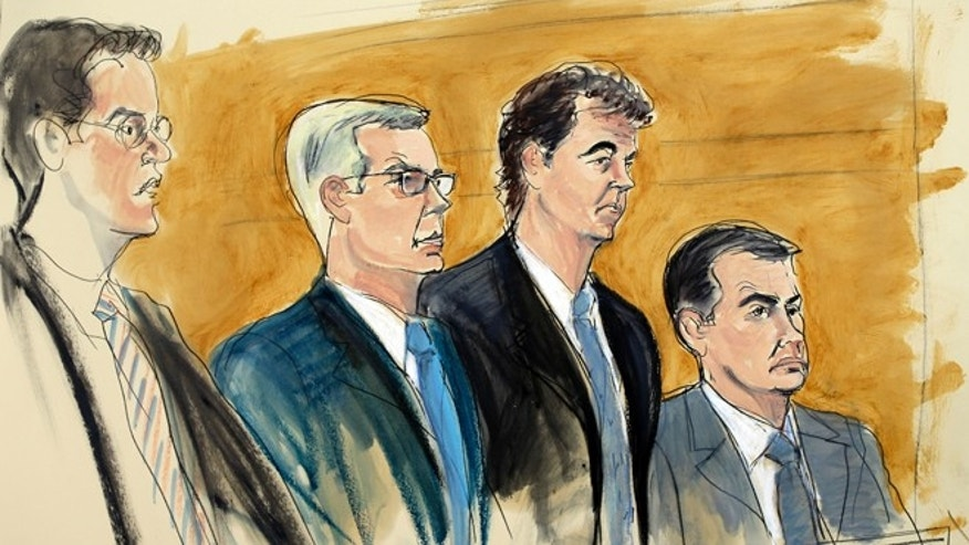 In this courtroom sketch, Alejandro Burzaco, second from right, stands with his attorneys Sean Casey, second from left, and John Couriel, right, and prosecutor Samuel Nitze, left, Friday, July 31, 2015 in federal court in New York. The Argentinian sports marketing executive pleaded not guilty Friday in the massive racketeering and bribery case that has scandalized international soccer. (AP Photo/Elizabeth Williams)