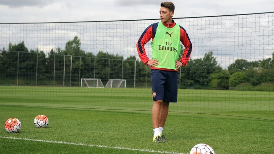 ST ALBANS, ENGLAND - AUGUST 01: Mesut Ozil of Arsenal during a training session at London Colney on August 1, 2015 in St Albans, England. (Photo by Stuart MacFarlane/Arsenal FC via Getty Images)