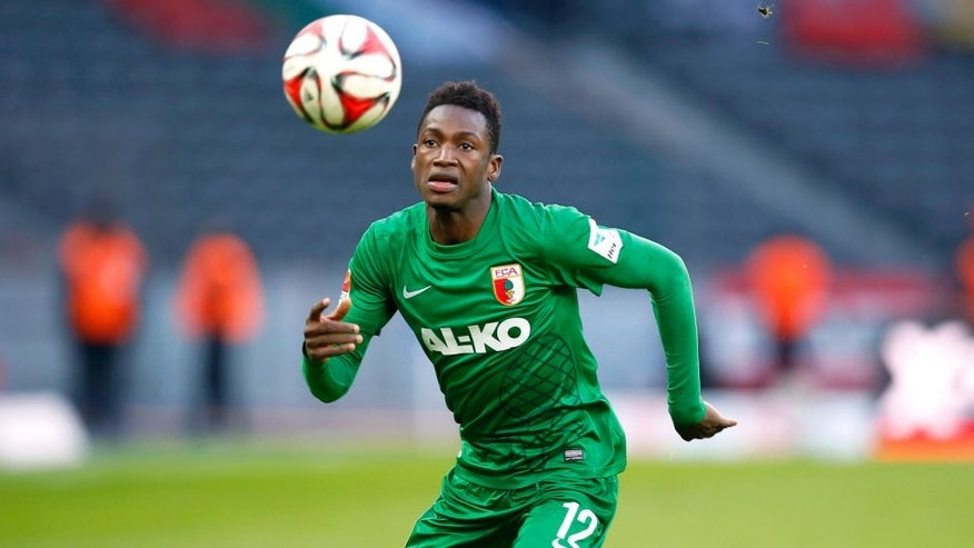 BERLIN, GERMANY - FEBRUARY 28: Abdul Rahman Baba of Augsburg runs with the ball during the Bundesliga match between Hertha BSC and FC Augsburg at Olympiastadion on February 28, 2015 in Berlin, Germany. (Photo by Boris Streubel/Bongarts/Getty Images)