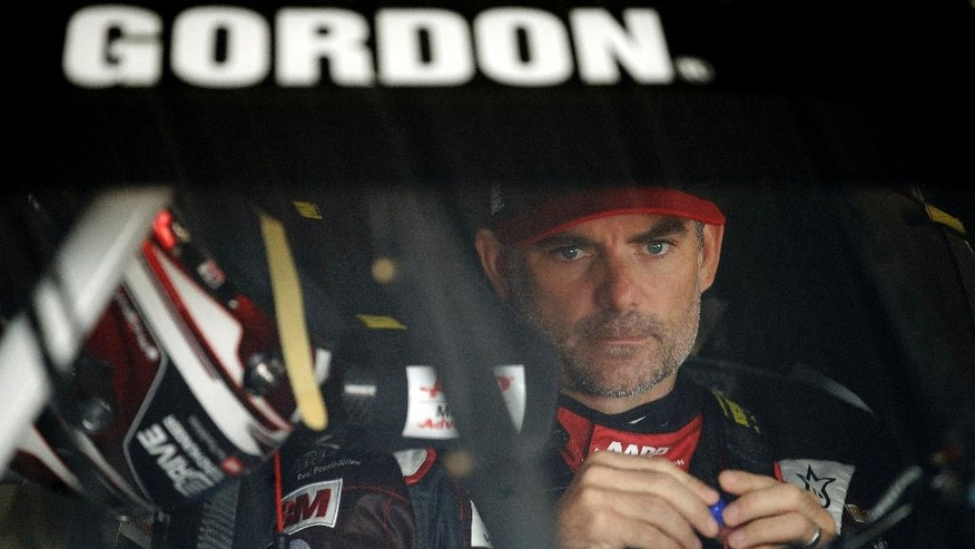 Jeff Gordon prepares for a practice session for Sunday's NASCAR Pocono 400 auto race, Saturday, Aug. 1, 2015, in Long Pond, Pa. (AP Photo/Matt Slocum)