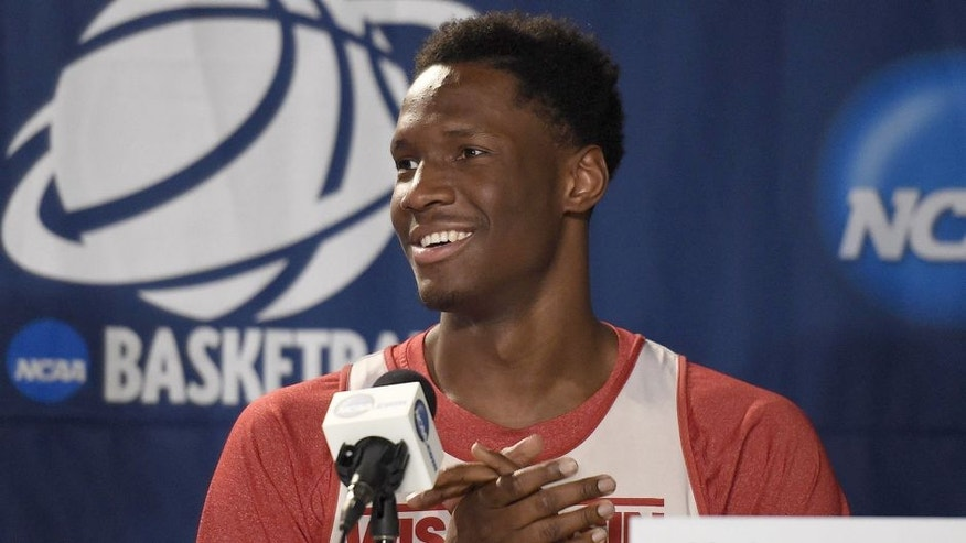 Mar 25, 2015; Los Angeles, CA, USA; Wisconsin Badgers forward Nigel Hayes (10) speaks to media during practice before the semifinal of the west regional at Staples Center. Mandatory Credit: Richard Mackson-USA TODAY Sports
