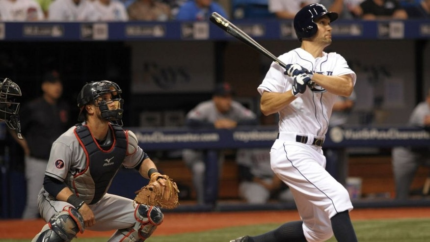 Cleveland Indians catcher Yan Gomes, left, looks on as Tampa Bay Rays designated hitter Grady Sizemore hits a solo home run during the seventh inning of a baseball game Monday, June 29, 2015, in St. Petersburg, Fla. (AP Photo/Steve Nesius)